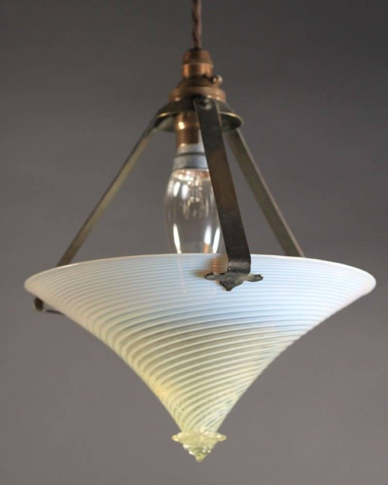 Lighting, Unusual Arts & Crafts Vaseline Pendant Light pertaining to Arts and Crafts Pendant Lighting (Image 12 of 15)