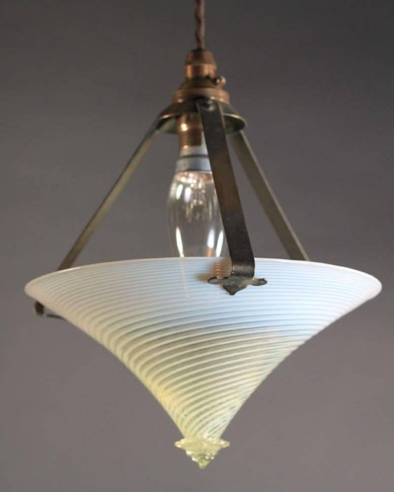 Lighting, Unusual Arts & Crafts Vaseline Pendant Light within Arts And Crafts Pendant Lights (Image 11 of 15)