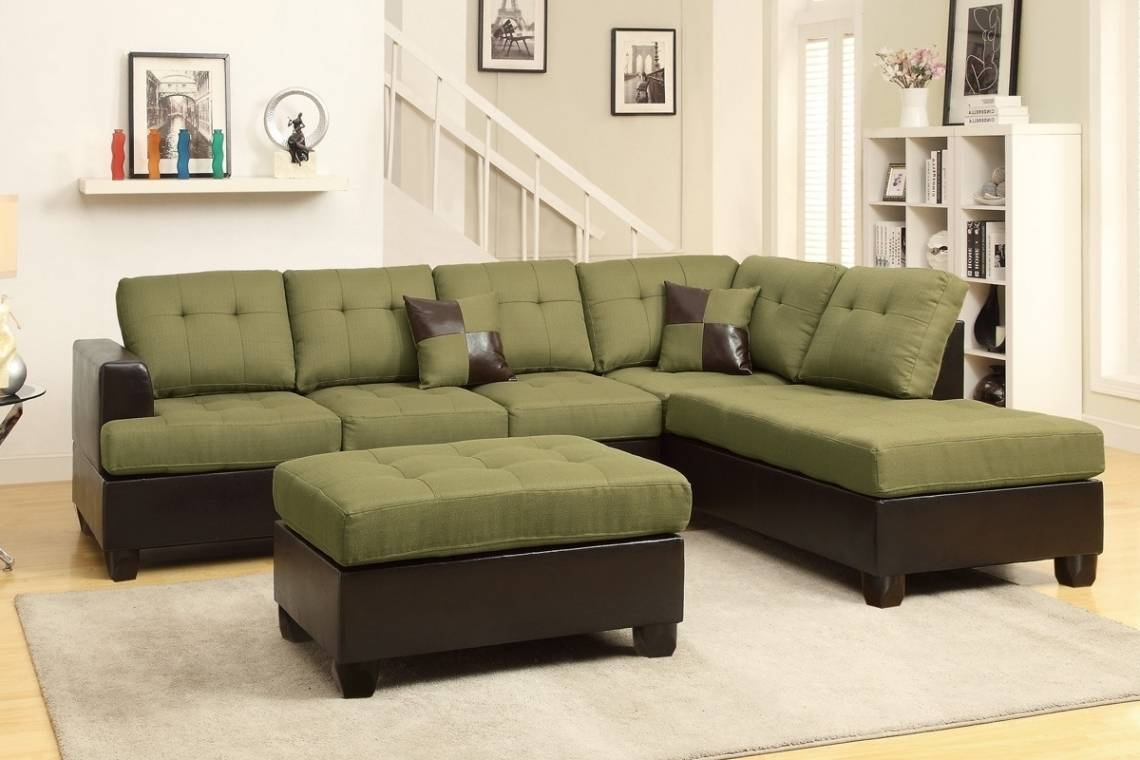 Likable Olive Green Fabric Sectional Sofa With Chaise And With inside Olive Green Sectional Sofas (Image 5 of 15)