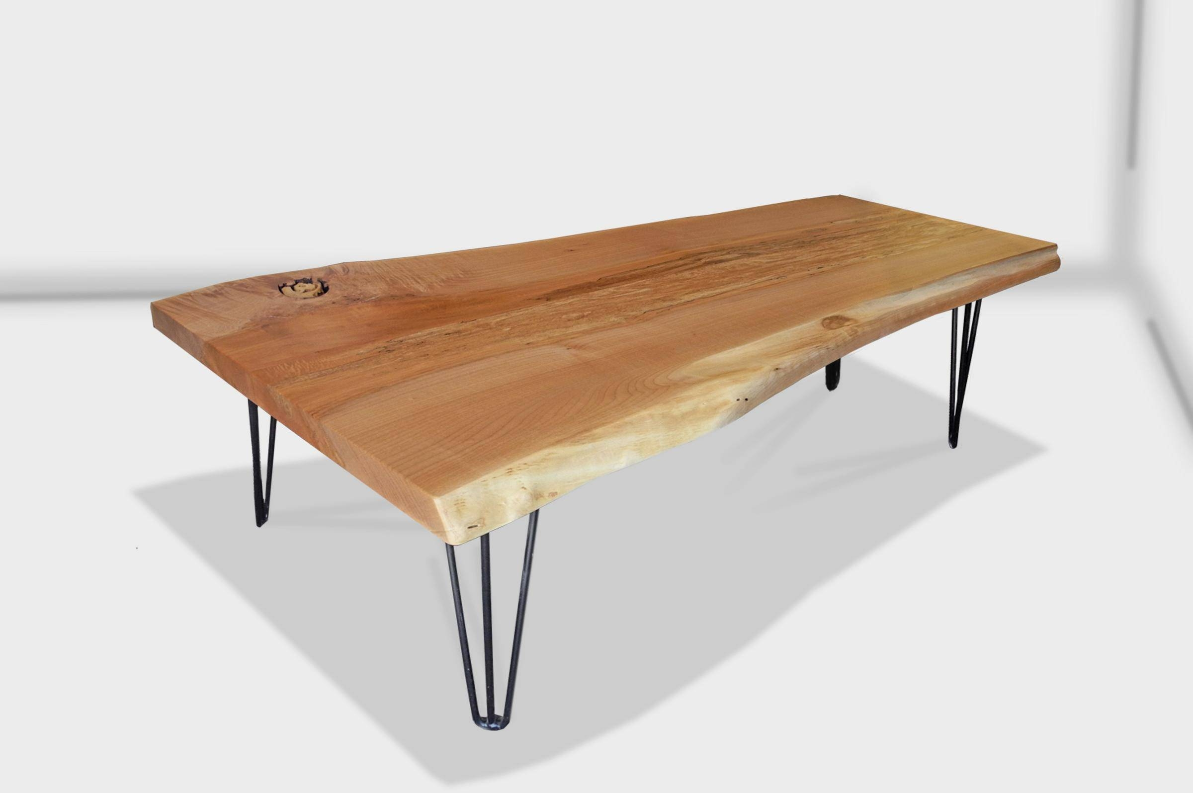 Live Edge Slab Coffee Table With Steel Hair Pin Legs pertaining to Live Edge Coffee Tables (Image 13 of 15)