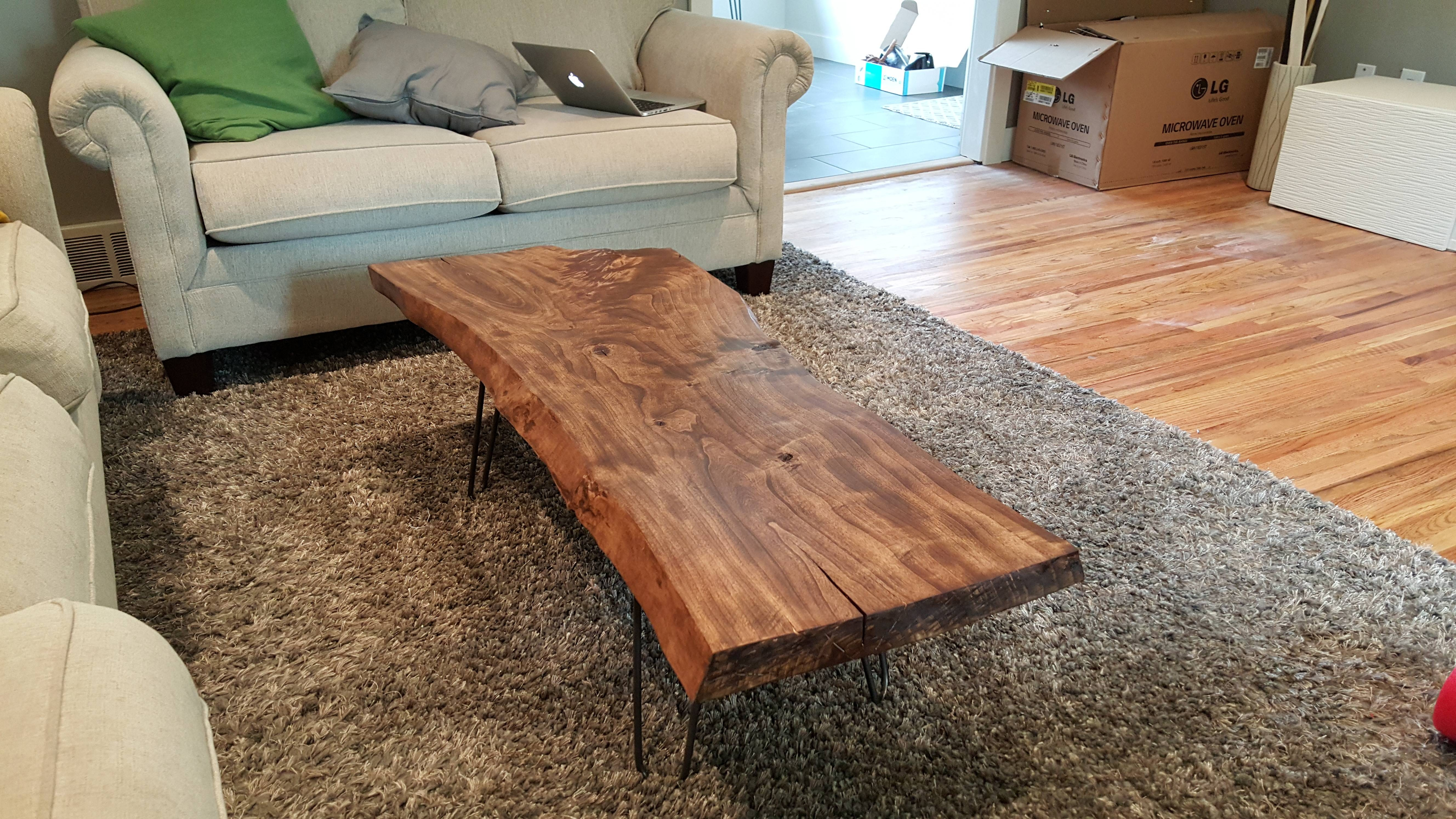 Live Edge Wood Coffee Table. First Post! : Diy for Live Edge Coffee Tables (Image 14 of 15)