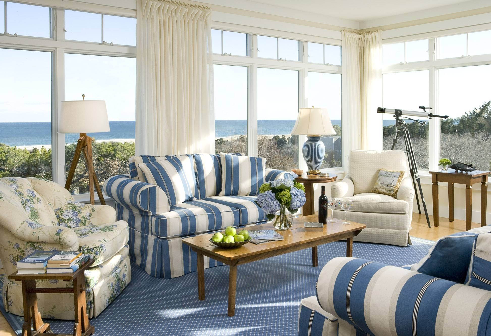 15 s Blue and White Striped Sofas