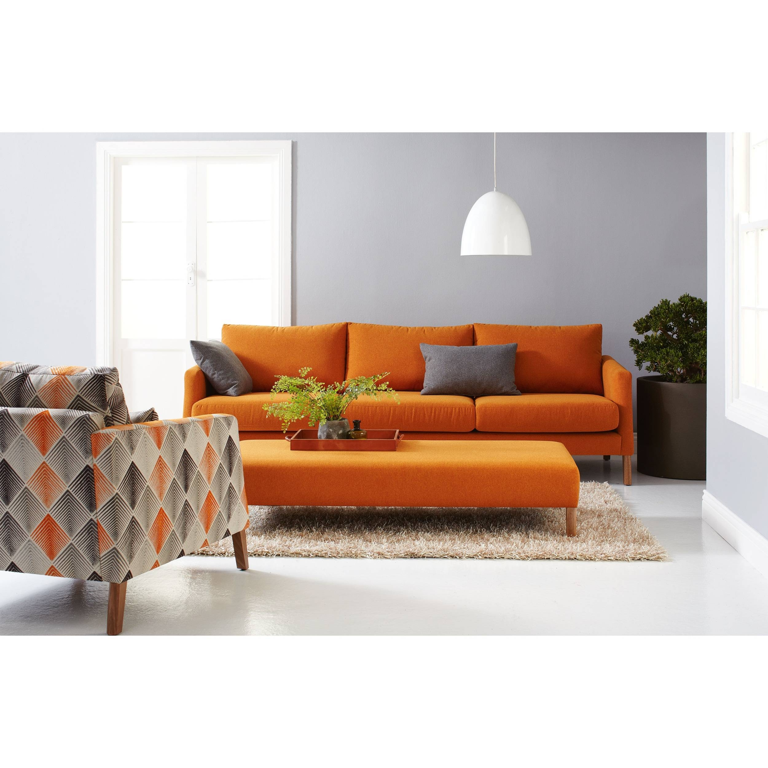 Living Room: Orange Living Room Furniture Photo. Grey And Orange with regard to Orange Sofa Chairs (Image 7 of 15)