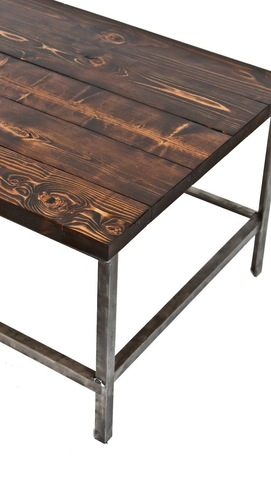 Long And Narrow C. 1940's Repurposed American Industrial Brushed throughout Wood and Steel Coffee Table (Image 10 of 15)
