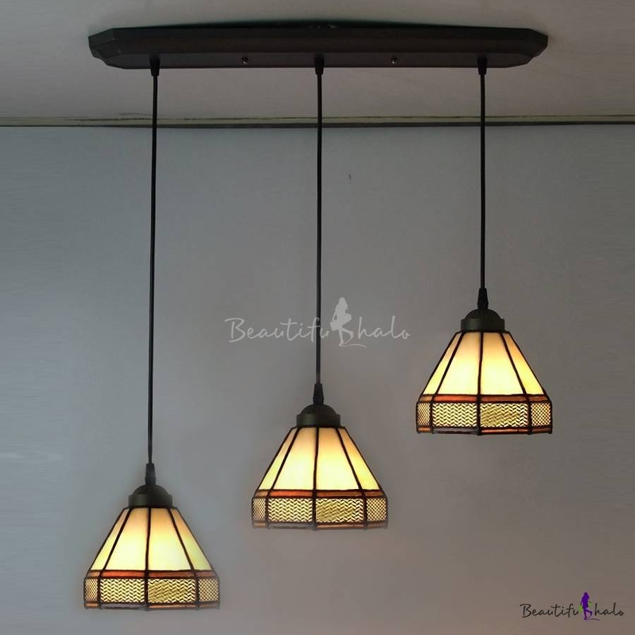 Long Base Geometric Pattern 24 Inch Three Light Hanging Pendant With Regard To Stained Glass Pendant Lights Patterns (View 15 of 15)