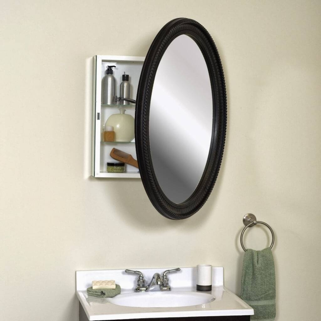 Lovely Oval Bathroom Mirrors With Medicine Cabinet 65 About - Benevola pertaining to Black Cabinet Mirrors (Image 15 of 15)