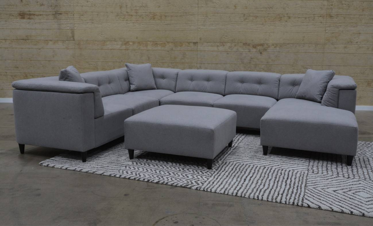 Lux Devon Heather 6-Piece Sectional Sofa With Ottoman For with regard to 6 Piece Sectional Sofas Couches (Image 10 of 15)