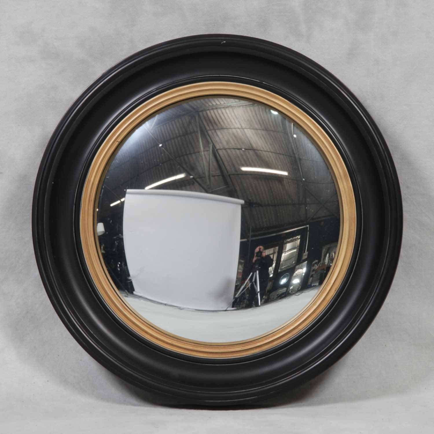 M112 London Large Round Black And Gold Convex Wall Mirror pertaining to Round Convex Wall Mirrors (Image 8 of 15)