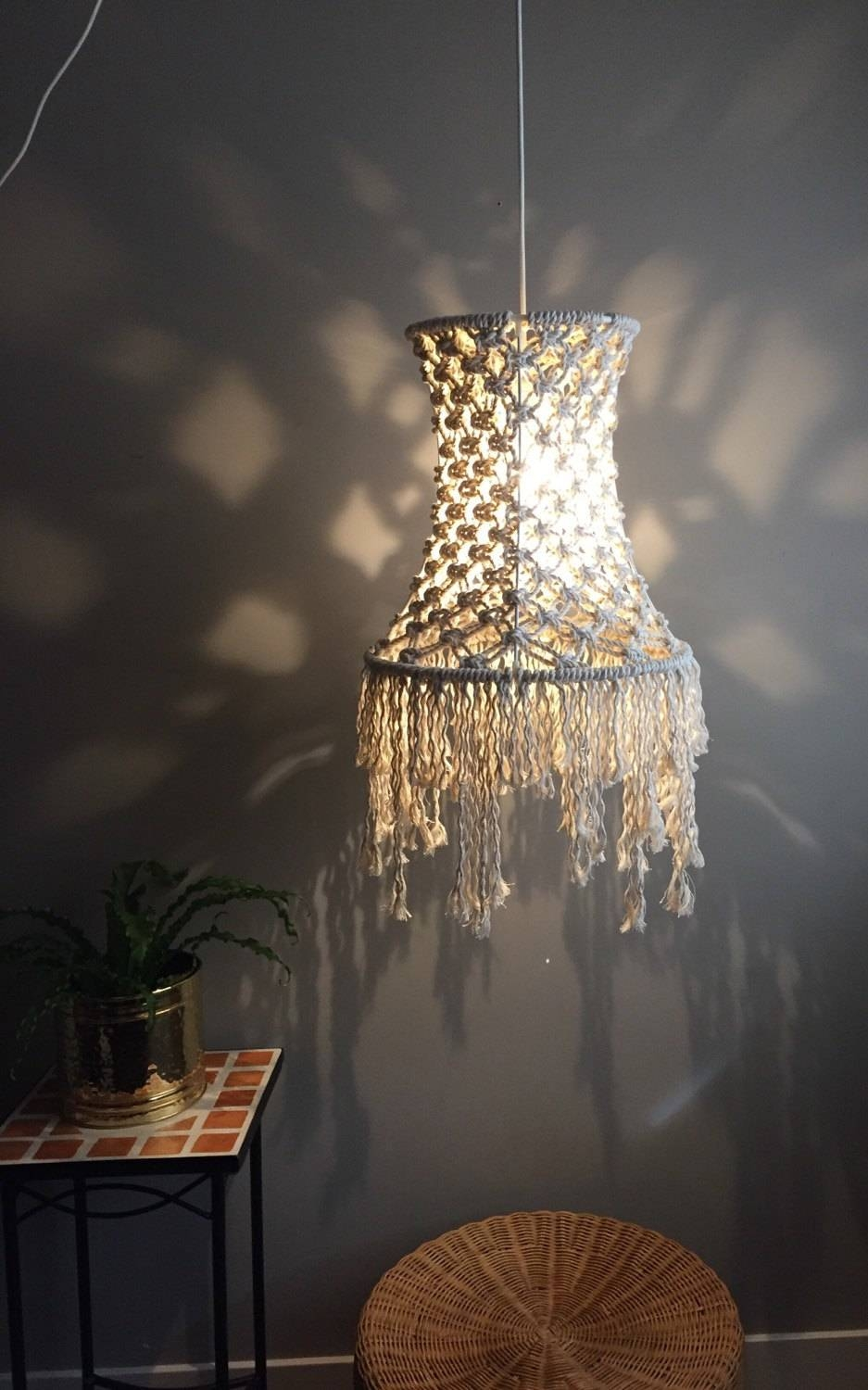Macramé Swag Lamp Short Fringe Light Pendant Boho in Macrame Pendant Lights (Image 9 of 15)