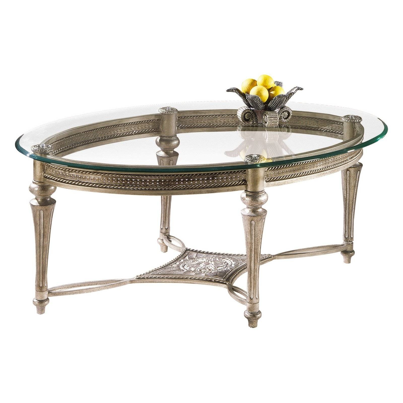 Magnussen Galloway Oval Iron And Glass Cocktail Table | Hayneedle with regard to Metal Oval Coffee Tables (Image 10 of 15)