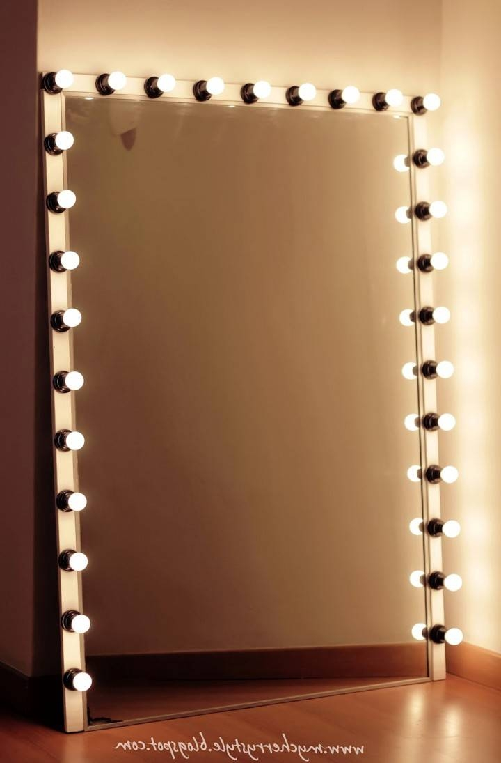 Makeup Lights Genuine Lights In Lights In Diy Makeup Vanity Also within Free Standing Long Mirrors (Image 14 of 15)