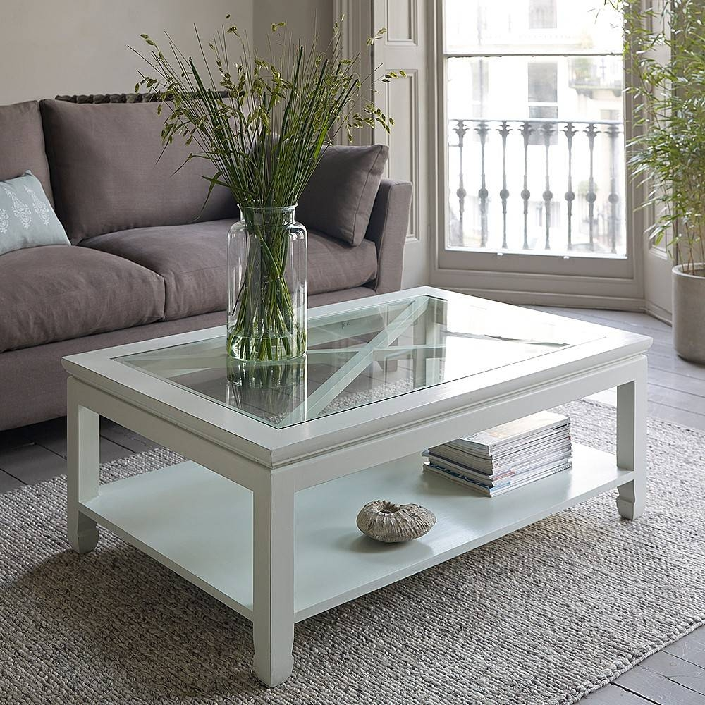 Mandara White Wooden Coffee Table inside Glass and Wood Coffee Tables (Image 12 of 15)
