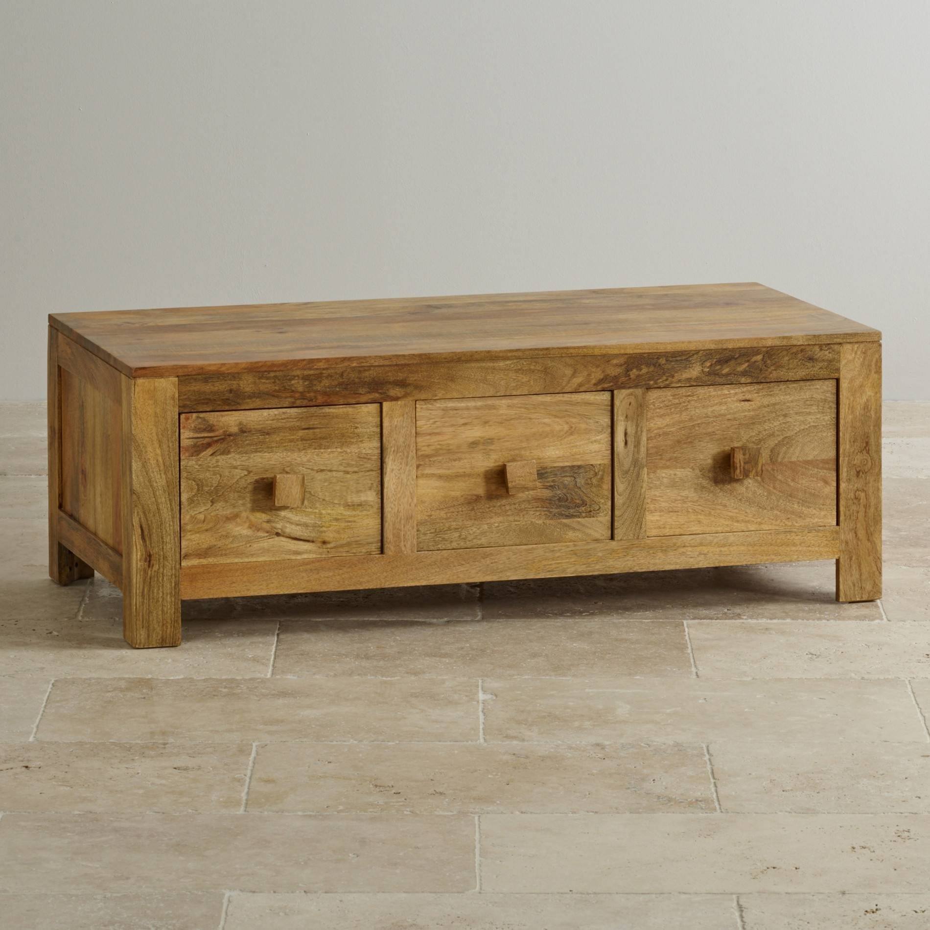 Mantis Light 6 Drawer Coffee Table In Natural Solid Mango For Solid Oak Coffee Table With Storage (View 9 of 15)