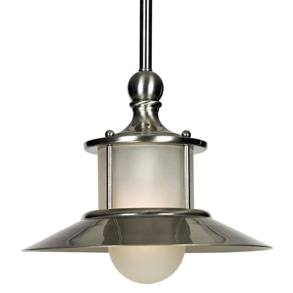 Maritime Mini-Pendant Light In Brushed Nickel/ Acid Etched Glass with Brushed Steel Pendant Lights (Image 10 of 15)