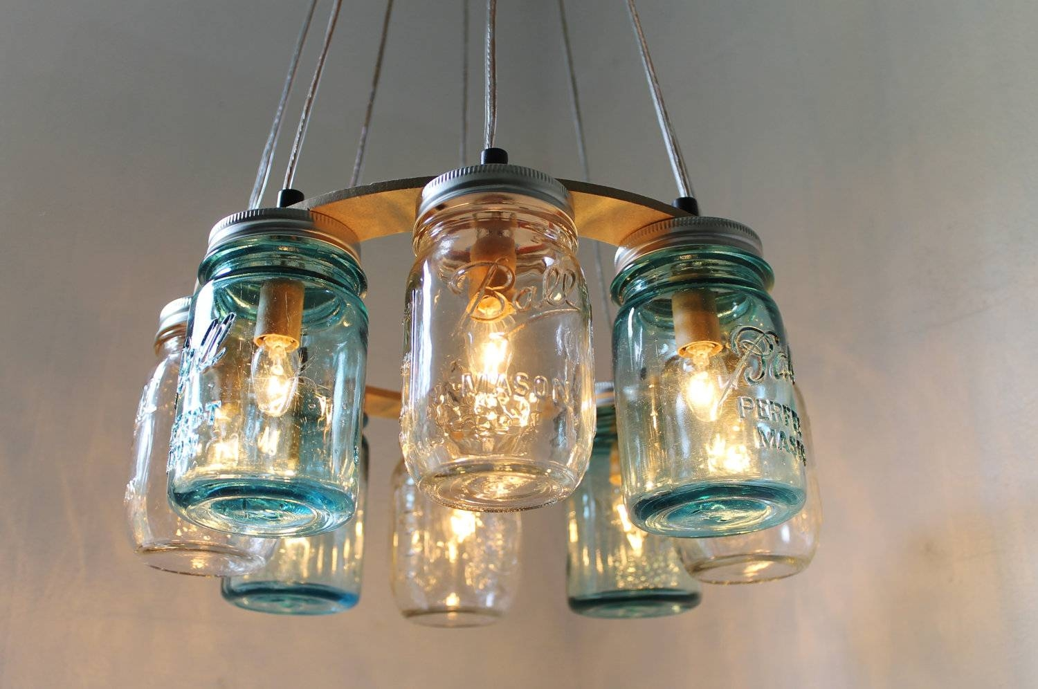 Mason Jar Chandelier Beach House Mason Jar Lighting Fixture with Blue Mason Jar Lights Fixtures (Image 8 of 15)