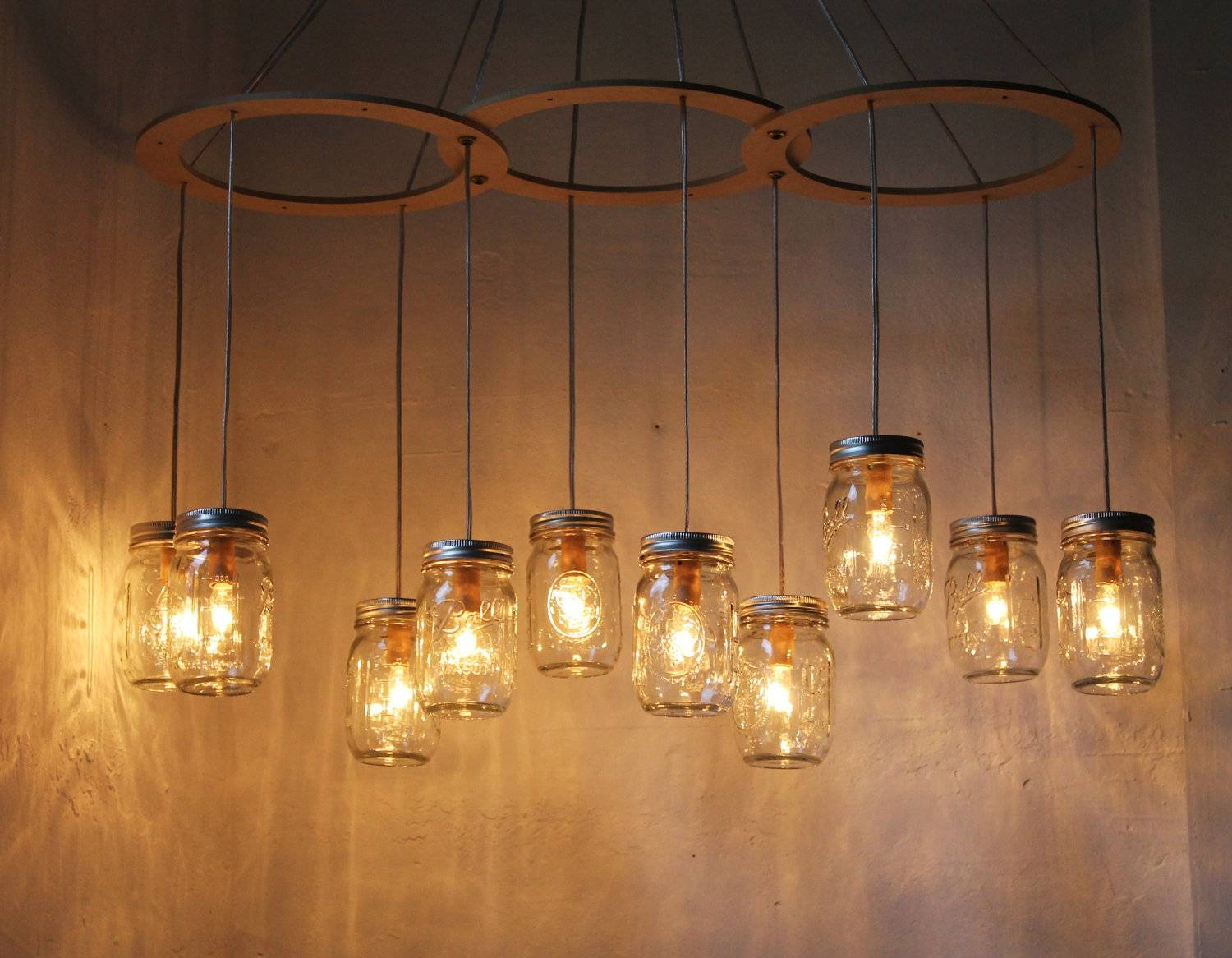 Mason Jar Chandelier Lighting Fixture Large Rustic Mason Jar intended for Hanging Lights Fixtures (Image 9 of 15)