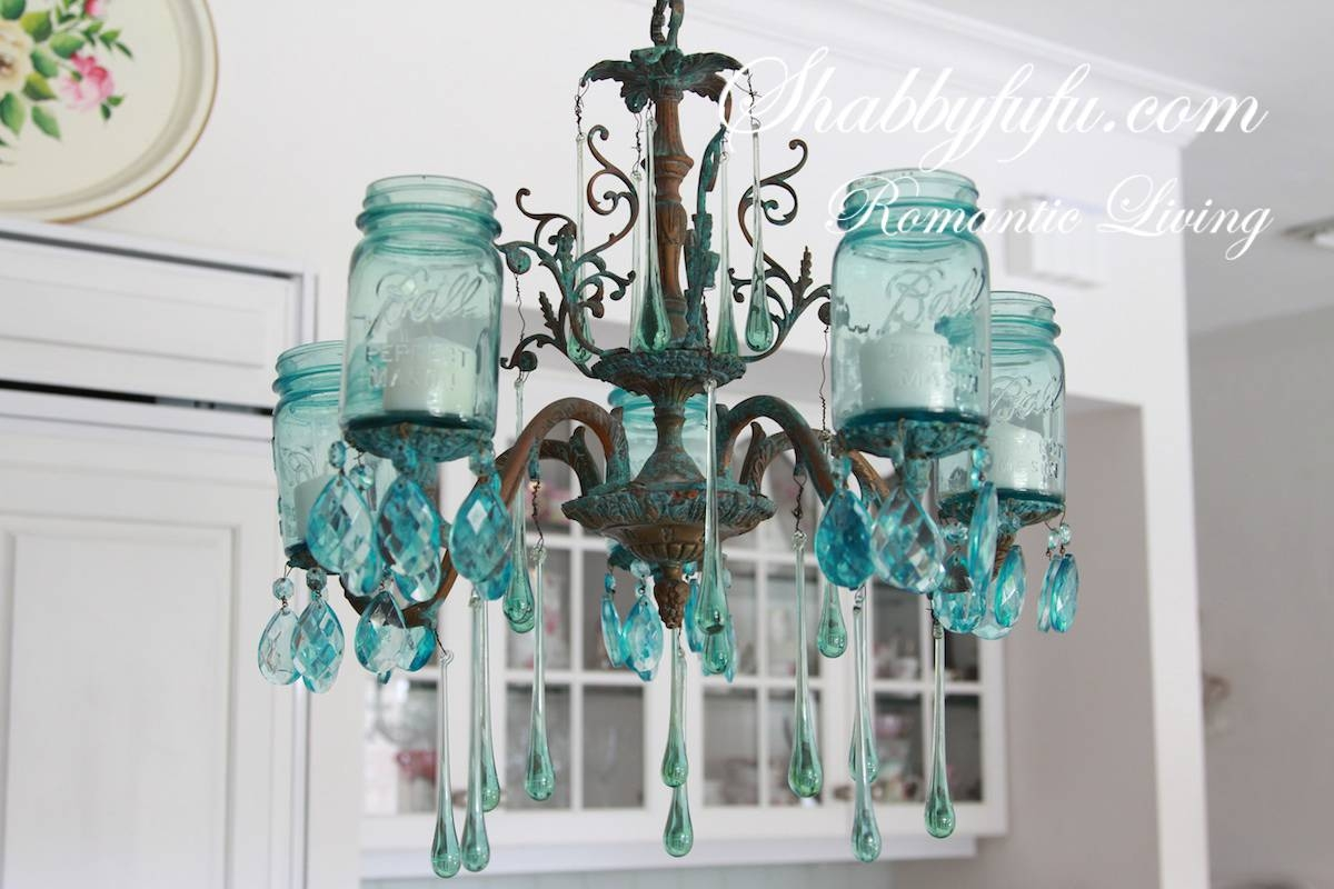 Mason Jar Chandelier With Vintage Blue Mason Jars - Mason Jar pertaining to Blue Mason Jar Lights Fixtures (Image 9 of 15)