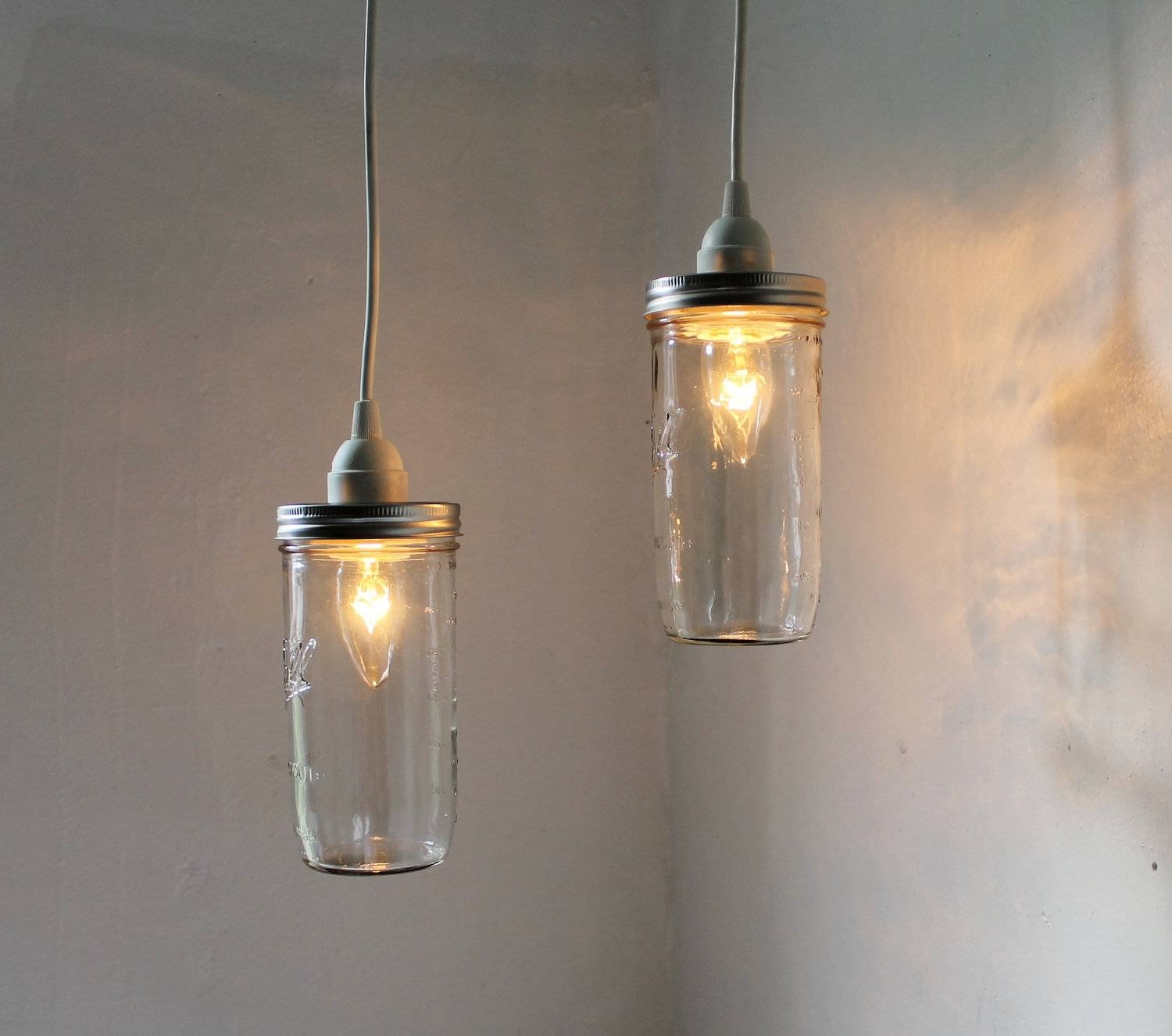 Mason Jar Pendant Lights Set Of 2 Hanging Mason Jar Pendants pertaining to Hanging Lights Fixtures (Image 10 of 15)