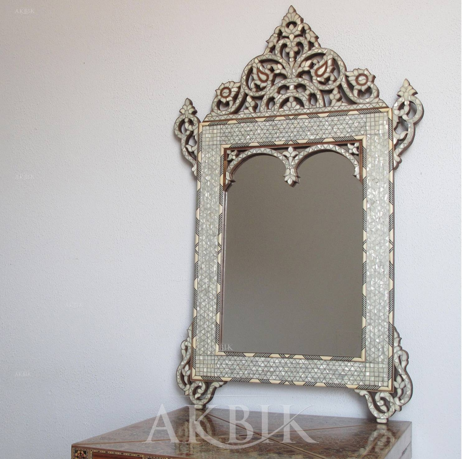 Mediterranean, Levantine & Syrian Furniture Inlaid With Mother Of with Mother of Pearl Wall Mirrors (Image 12 of 15)