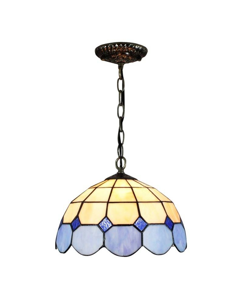 Meditteranean Style Blue White Stained Glass Tiffany Ceiling in Stained Glass Lamps Pendant Lights (Image 3 of 15)