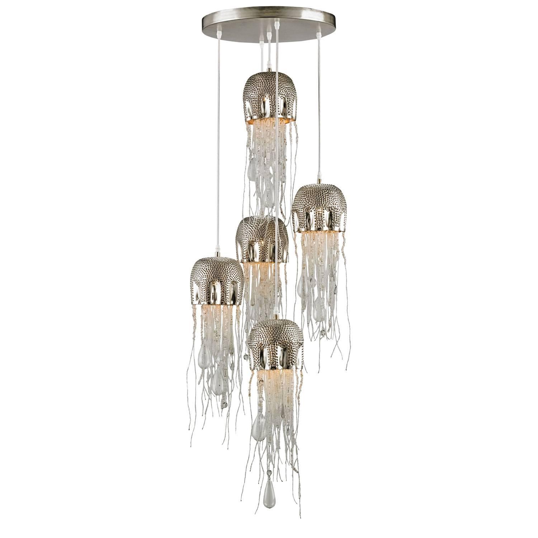 Medusa Nickel Five Light Pendant Currey & Company Multi Light pertaining to Medusa Pendant Lights (Image 8 of 15)