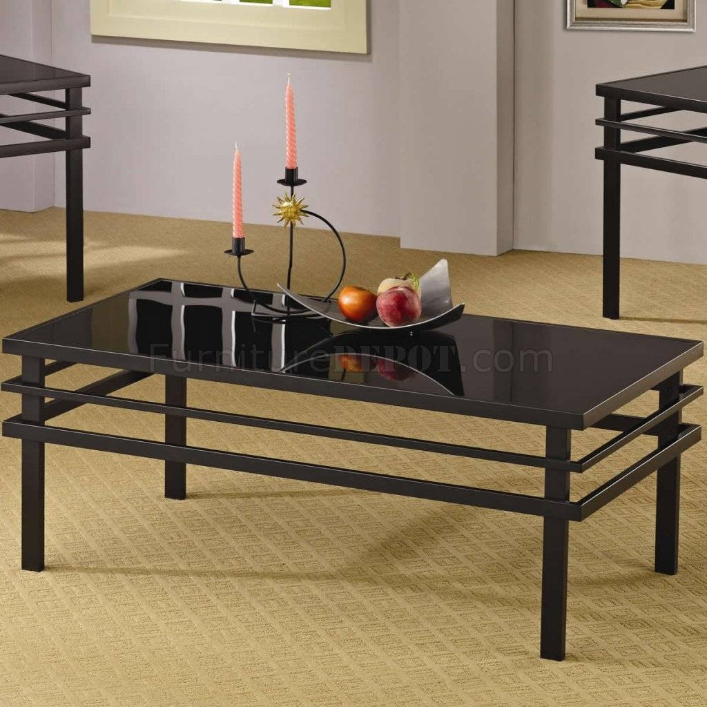 Metal Base & Glass Top Modern 3Pc Coffee Table Set in Glass And Black Metal Coffee Table (Image 12 of 15)