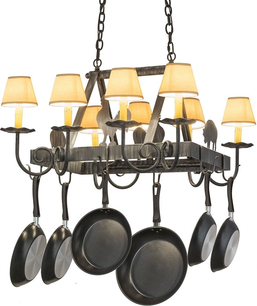 Meyda Tiffany 120772 Barn Animals Antique Iron Gate Island within Pot Rack With Lights Fixtures (Image 9 of 15)