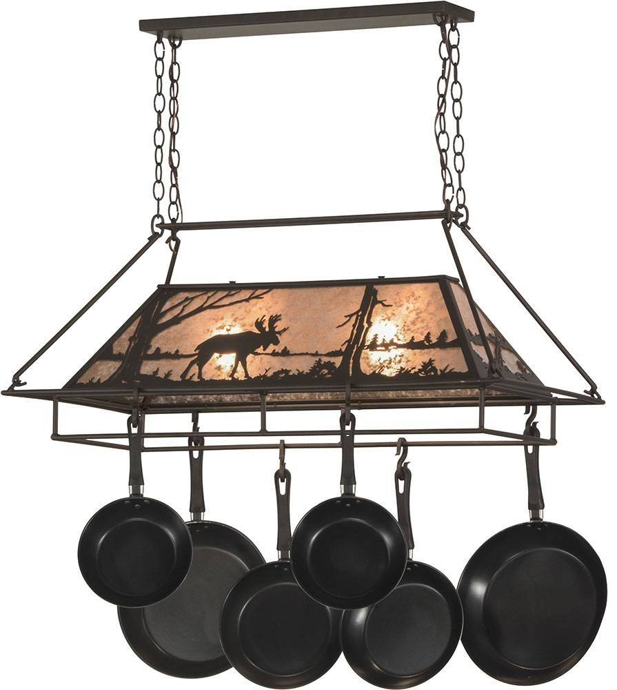 Meyda Tiffany 152951 Moose At Lake Rustic Oil Rubbed Bronze in Pot Rack With Lights Fixtures (Image 10 of 15)