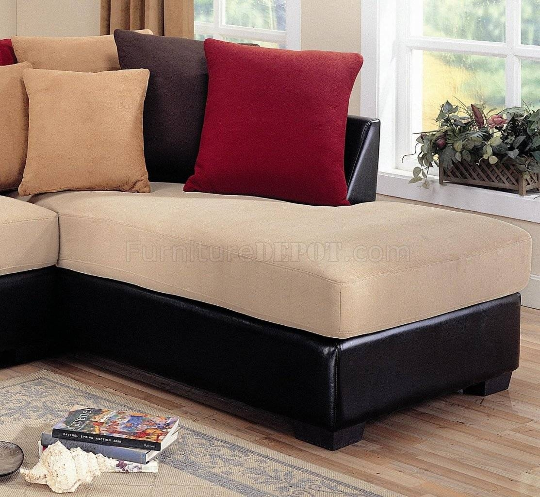 Microfiber Sectional Sofa. Black Leather With Cream Cuhsion inside Chocolate Brown Microfiber Sectional Sofas (Image 10 of 15)