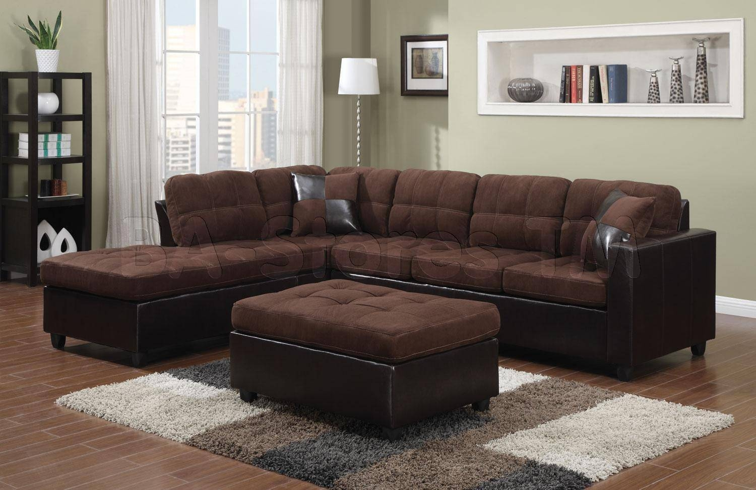 Microfiber Sectional Sofa. Black Leather With Cream Cuhsion throughout Chocolate Brown Microfiber Sectional Sofas (Image 11 of 15)