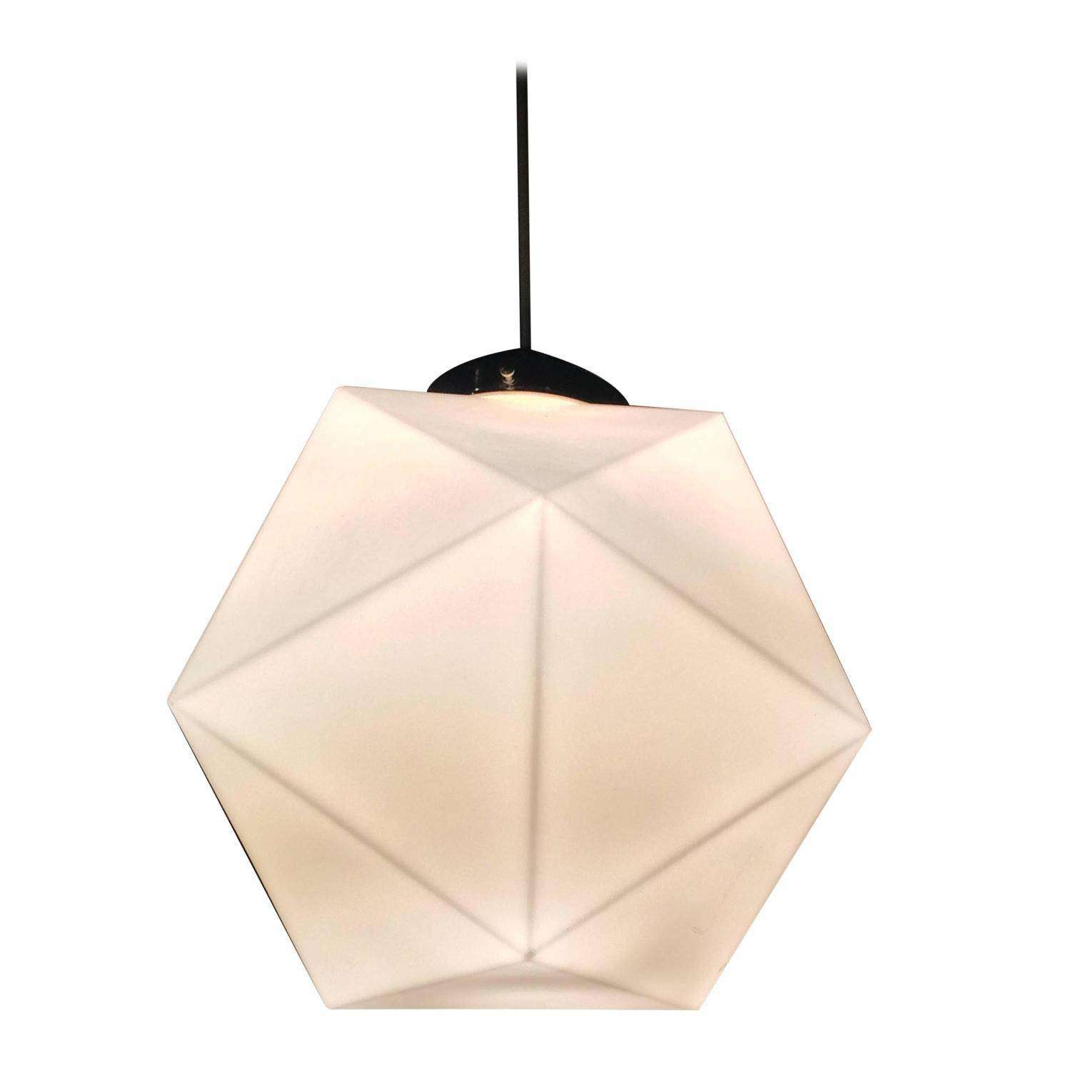 Mid Century Faceted Milk Glass Geometric Pendant Light At 1Stdibs Pertaining To Milk Glass Pendant Lights (View 7 of 15)