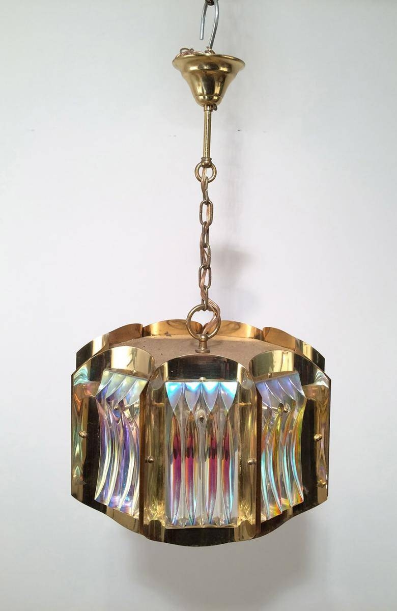 Mid Century Glass And Brass Pendant Lights, 1960S, Set Of 2 For Intended For 1960S Pendant Lights (View 11 of 15)