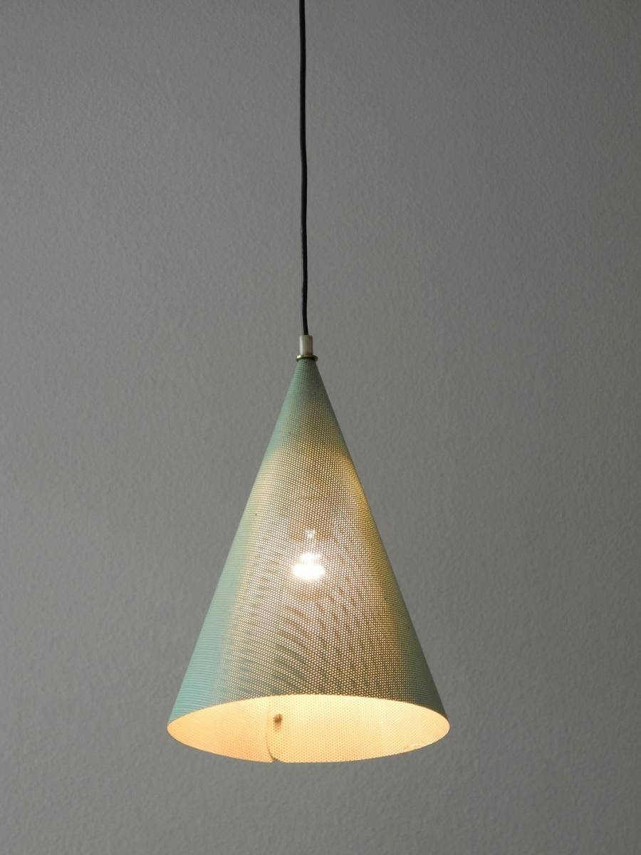 Mid-Century Mint Green Perforated Metal Pendant Lamp For Sale At with regard to Punched Metal Pendant Lights (Image 9 of 15)