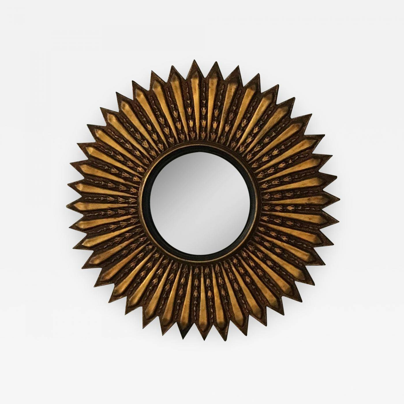 Mid Century Modern Argentinian Gilded Wood Starburst Convex Mirror regarding Starburst Convex Mirrors (Image 8 of 15)