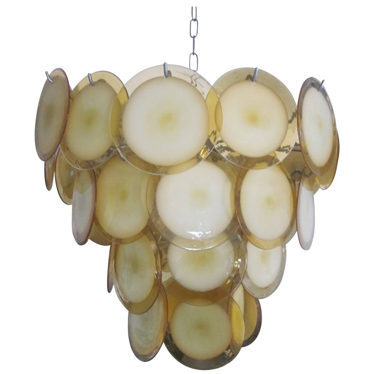 Mid-Century Modern Murano / Venetian Glass Disc Chandelier Or for Venetian Glass Ceiling Lights (Image 8 of 15)