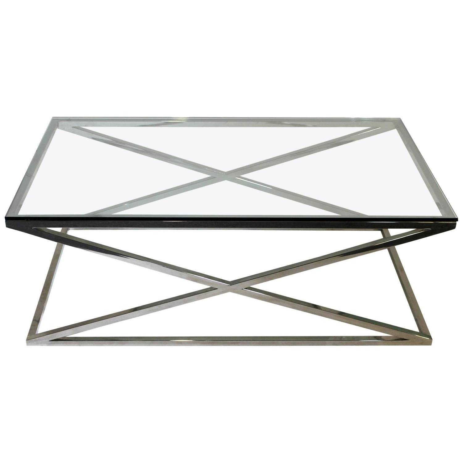 Mid-Century Modern Rectangular Glass Coffee Table Chrome X Base within Rectangle Glass Coffee Table (Image 10 of 15)