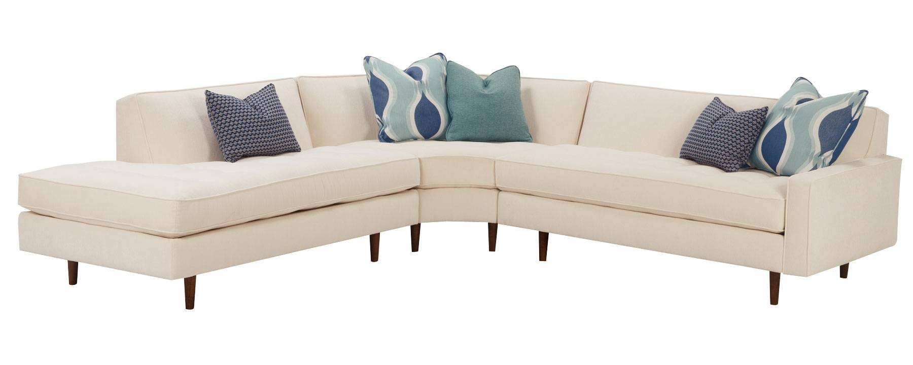 Mid-Century Modern Sectional With Tufted Seat And Tight Back for Tight Back Sectional Sofas (Image 5 of 15)