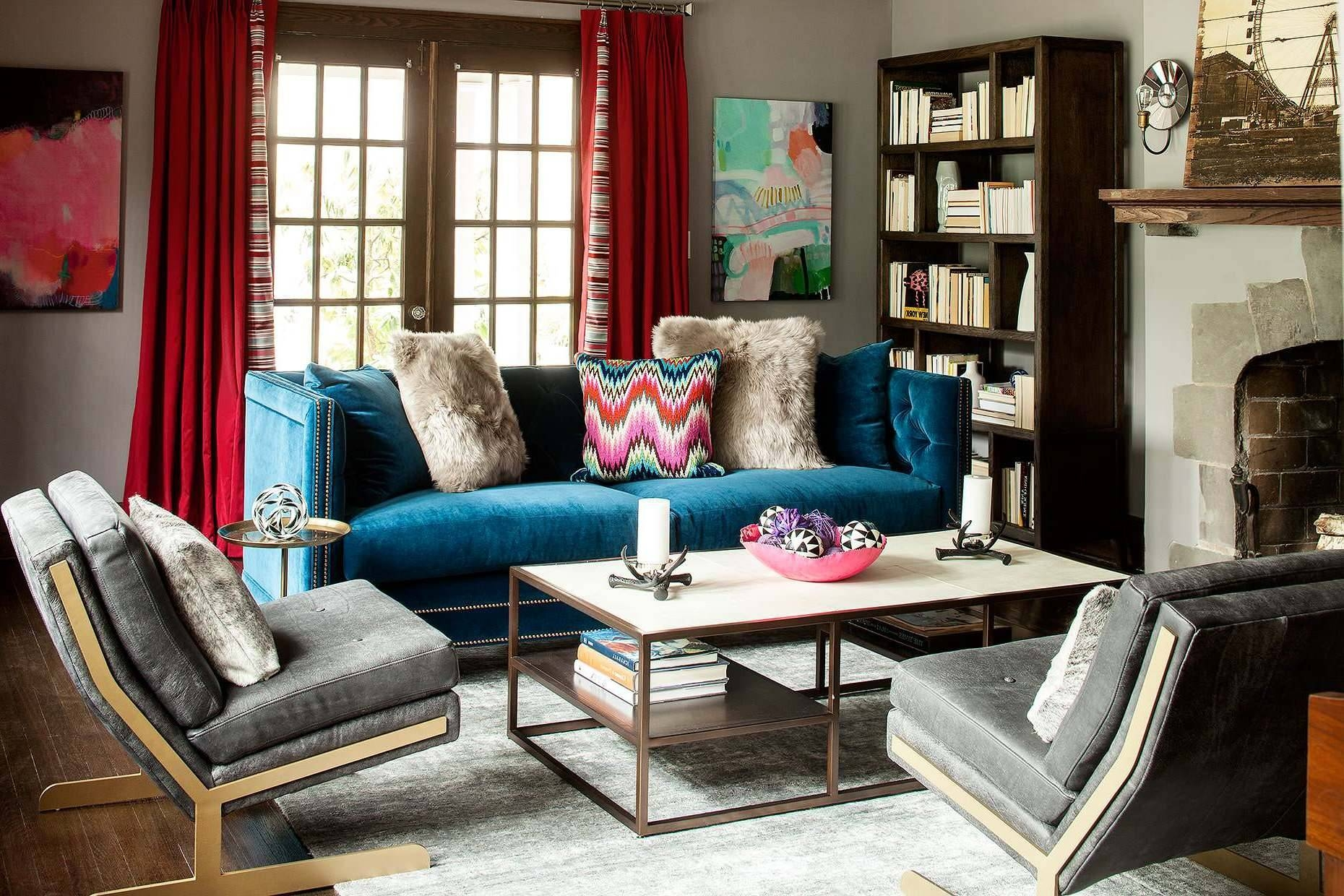 Midnight Blue Kendall Velvet Sofa Solid Wood And Plywood Frame in Midnight Blue Sofas (Image 7 of 15)