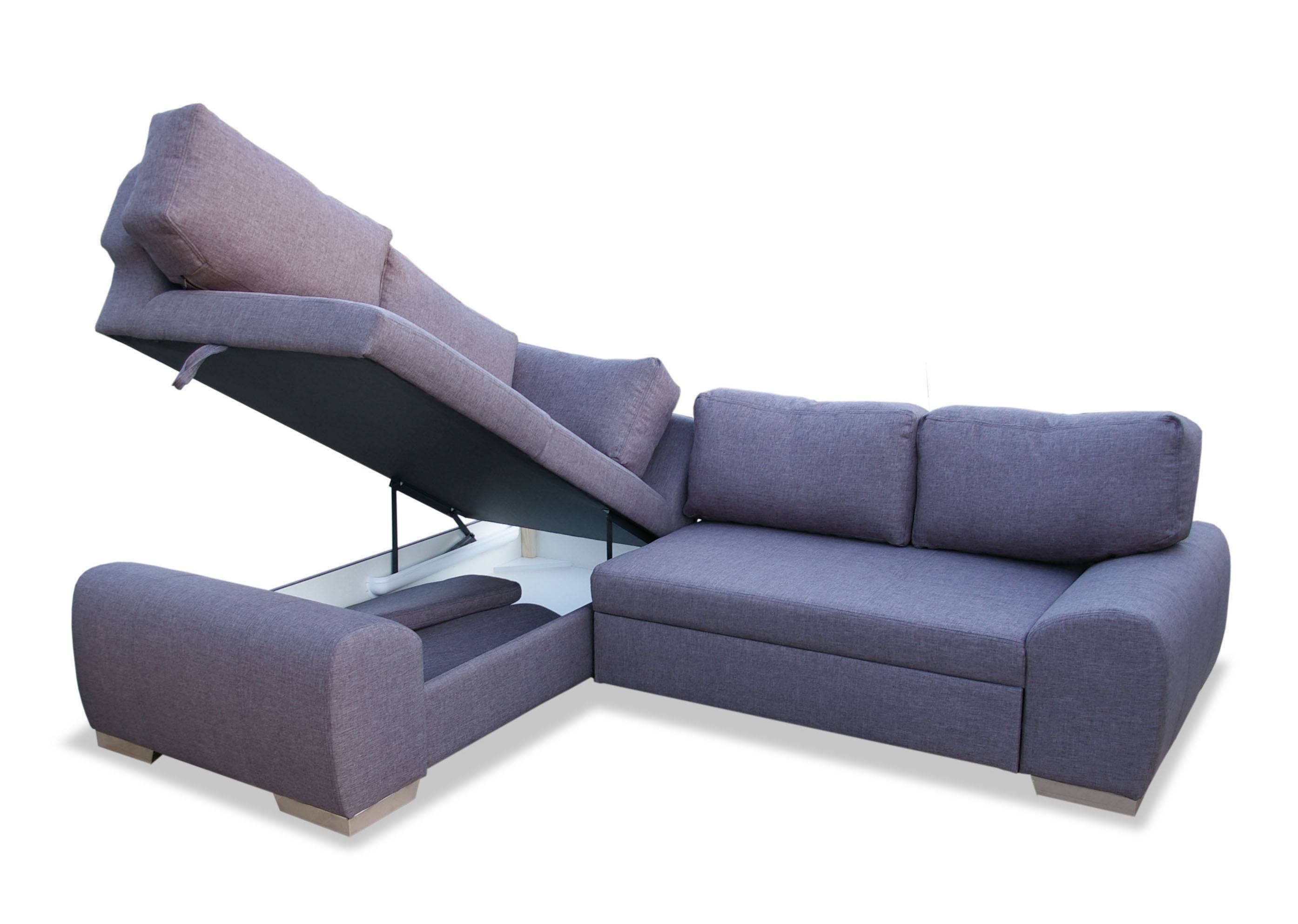 Milan Corner Sofa Bed With Storage Right Hand Grey – S3net Within Small Sectional Sofas With Storage (View 5 of 15)