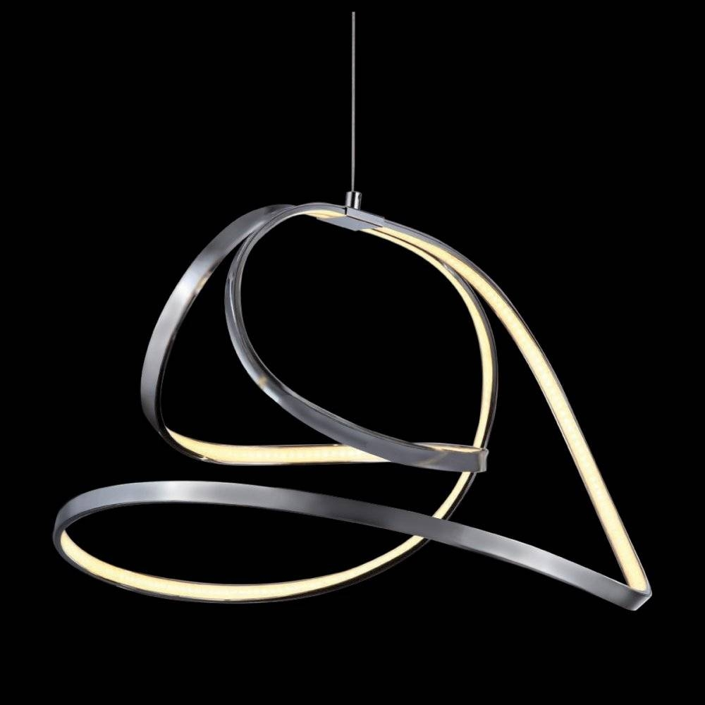 Mimax Shine 5 Ribbon Led Pendant Light In Satin Nickel within Led Pendant Lights (Image 10 of 15)