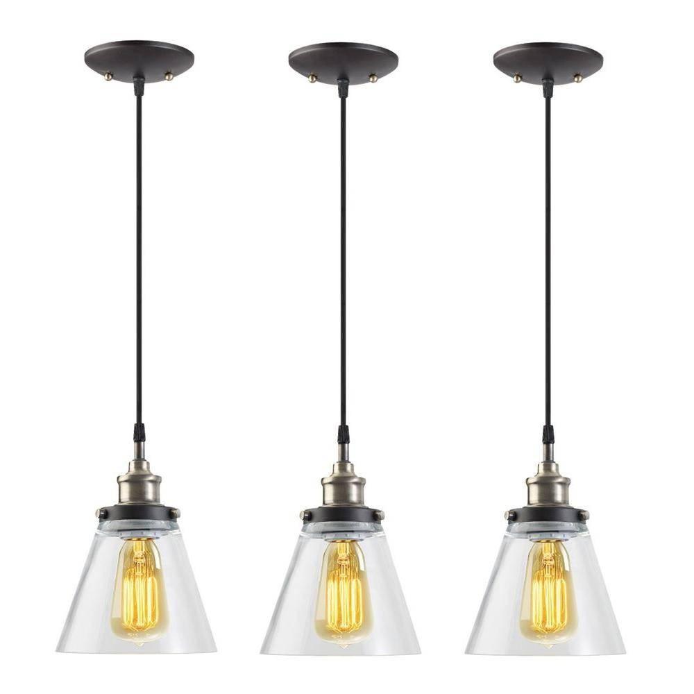 Mini – Pendant Lights – Hanging Lights – The Home Depot Regarding 3 Pendant Light Kits (View 10 of 15)