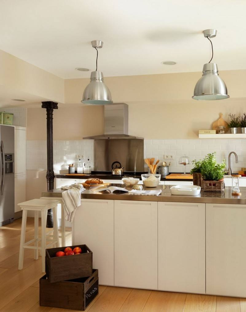Minimalist White Kitchen Design With Durable Stainless Steel Within Stainless Steel Kitchen Pendant Lighting (View 12 of 15)