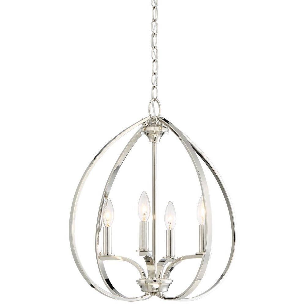 Minka Lavery Tilbury 4-Light Polished Nickel Pendant-4984-613 for Minka Lavery Pendants (Image 14 of 15)