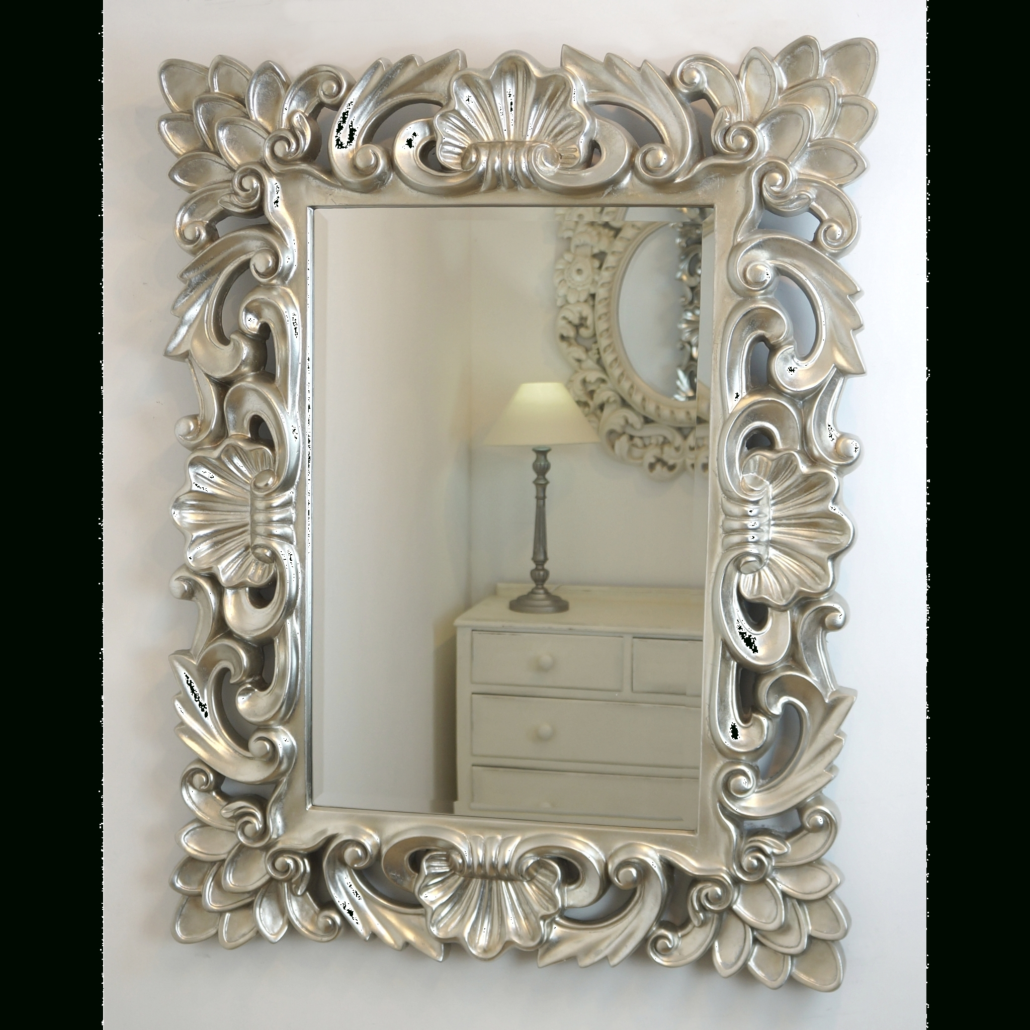 Mirror : Baroque Mirror Silver Dazzling Baroque Style Mirror pertaining to Silver Baroque Mirrors (Image 9 of 15)