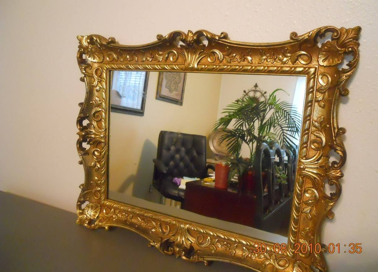 Mirror : Large Gold Ornate Antique Design Wall Mounted Mirror New regarding Large Ornate Gold Mirrors (Image 11 of 15)
