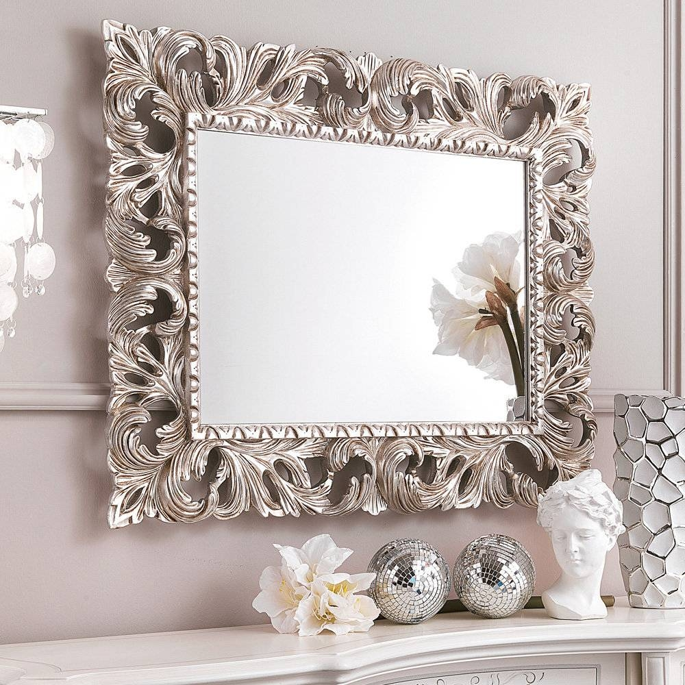 Mirrors: Amazing Ornate Wall Mirror Ornate Mirrors, Long Wall throughout Silver Ornate Mirrors (Image 12 of 15)