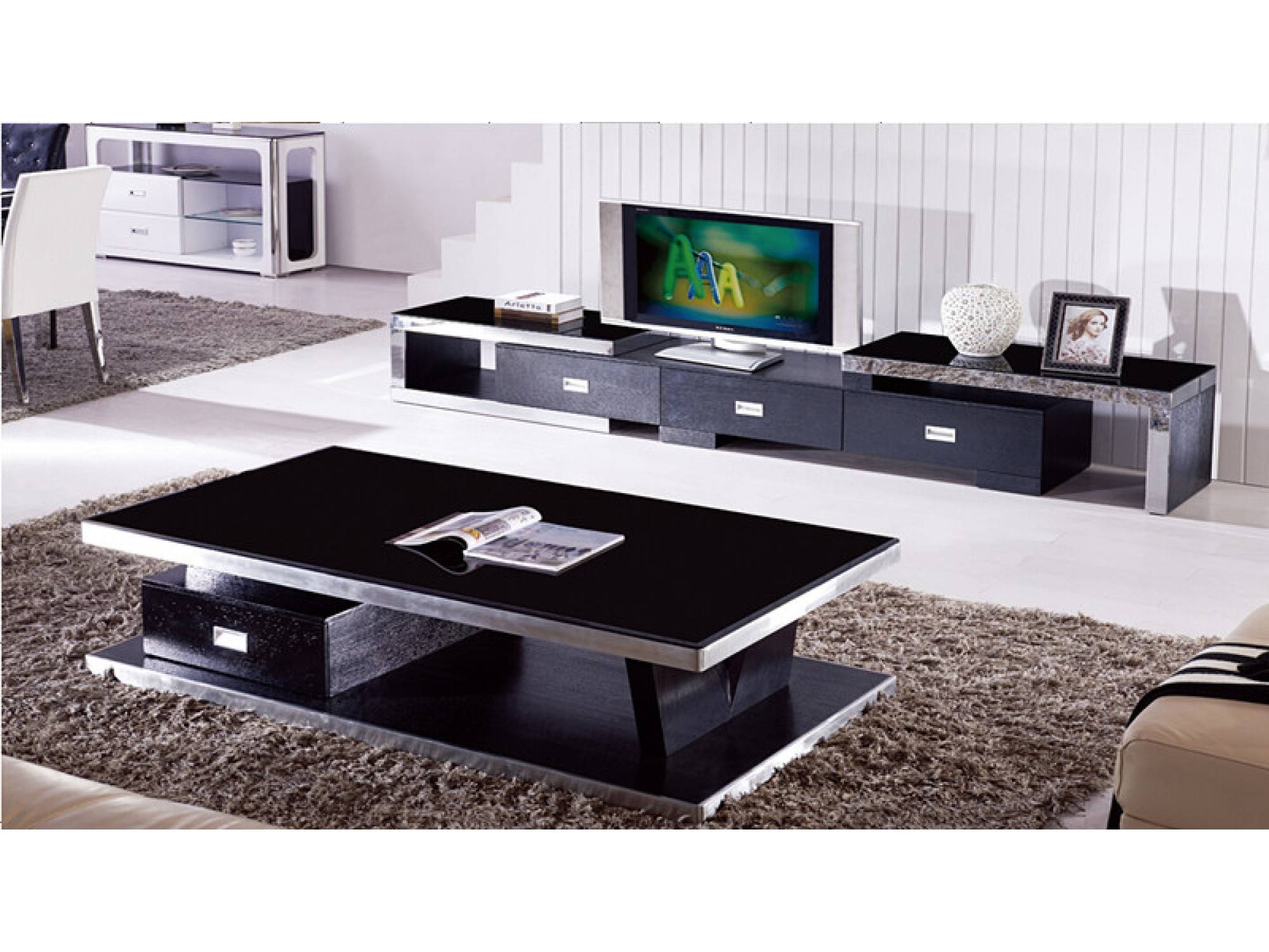 Modern Black Tempered Glass Coffee Table With 1 Drawer - Sunny in Modern Black Glass Coffee Table (Image 10 of 15)