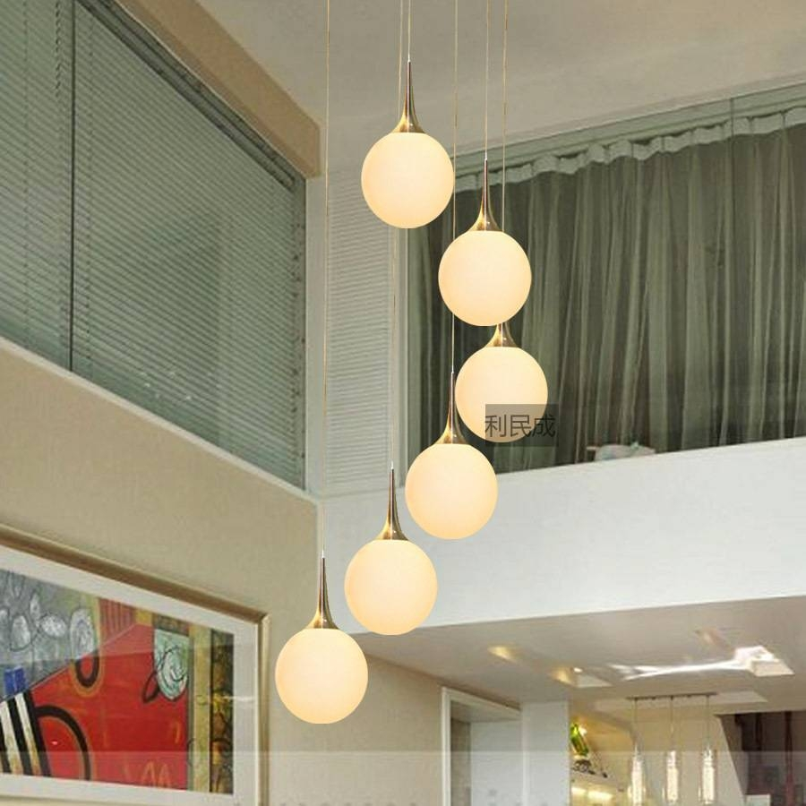 Modern Brief Pendant Light Living Room Ceiling Stair Lamp Glass pertaining to Wire Ball Pendant Lights (Image 8 of 15)