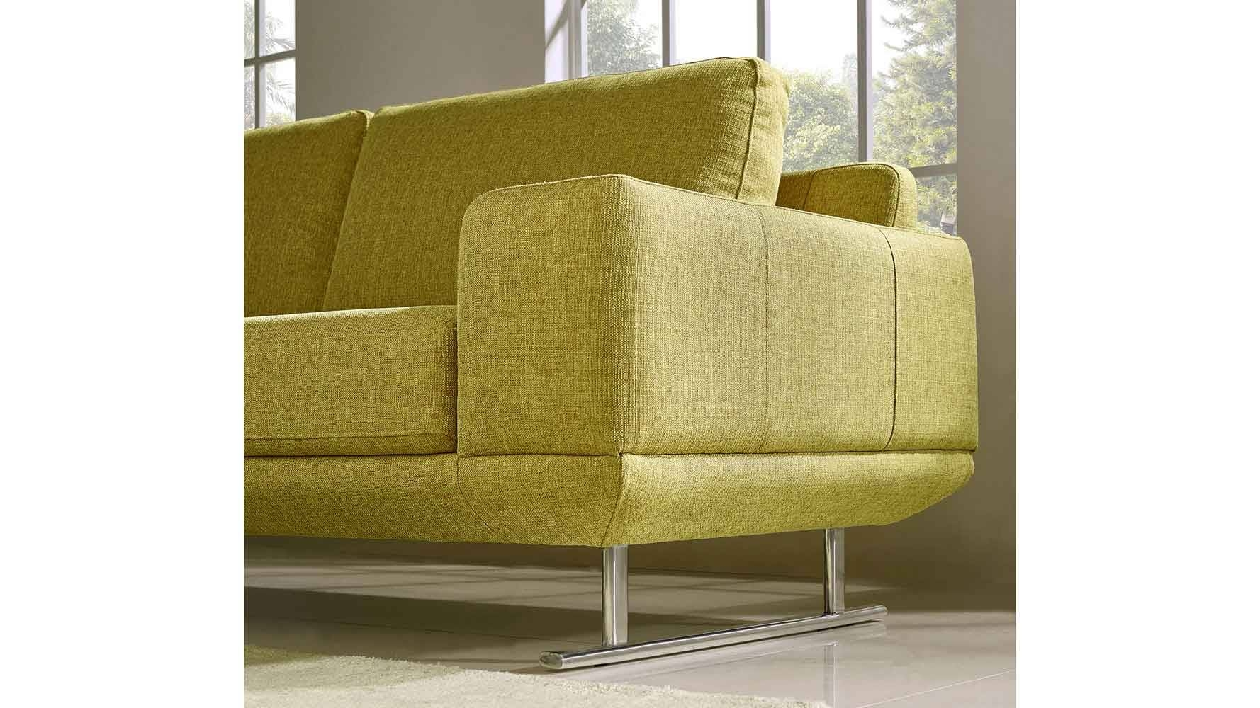 Superb Modern Chartreuse Fabric Della Sofa And Loveseat Set | Zuri Furniture  Throughout Chartreuse Sofas (Image