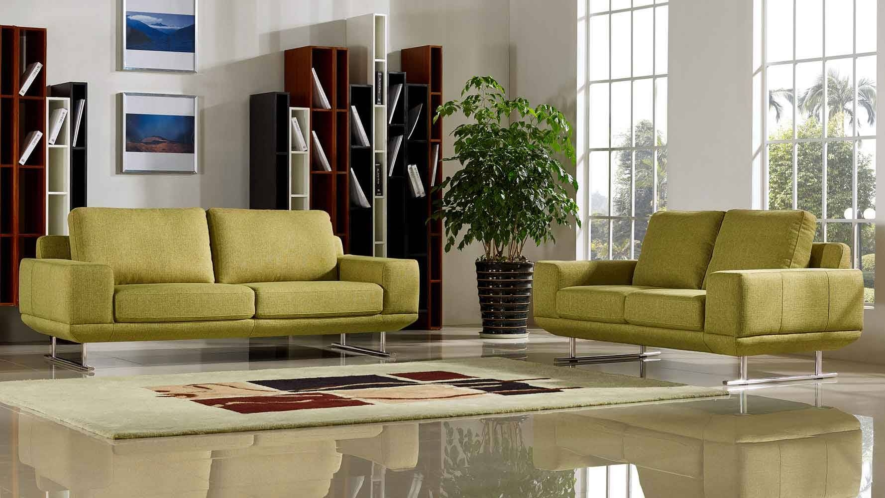 Modern Chartreuse Fabric Della Sofa And Loveseat Set | Zuri Furniture with Chartreuse Sofas (Image 14 of 15)